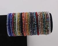 4 milímetros briolette cristal facetado rondelle contas pulseira Strand Elastic frisada Pulseira Esticável Bangle Jewelry
