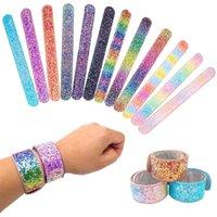 Filles sirène Paillettes Slap Bracelet snap Brillante Wristband Party Boys enfants et les filles des bijoux colorés Kid fête d'anniversaire cadeau EZYQ1550