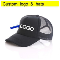 Free DLY printing single color LOGO Full Black Trucker Caps ...