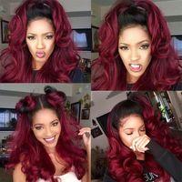 99J 1b 1b con vino Color rojo Ombre Encaje completo Pelucas para el cabello humano 130% Destiny Desplienss Remy para las mujeres Brasileño por arrancado