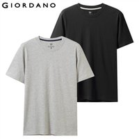 Giordano Men T- Shirt Pack Of 2 Solid Crewneck T Shirt Men Sh...