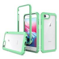 Pour LG 6 K51 Cas n ° 2 en 1 TPU + PC couleur haute transparence Effacer antichocs militaire pour G Stylus MOTO Phone Case B
