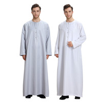 Мусульманское платье кафтан дубай мусульманин с длинными рукавами белый Thobes исламская одежда Homme летняя исламская одежда мужчины халаты DK755MZ