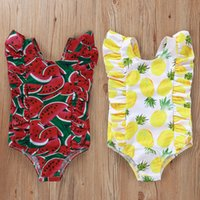 Children Pineapple watermelon Leopard print Swimwear baby gi...