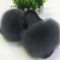 31 colors Fox Hair Slippers Women Fur Home Fluffy Sliders Pl...