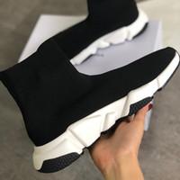 Beste Männer Geschwindigkeit Socke Sneakers Graffiti Stretch-Strick Mid Turnschuhe Frauen Leichte Mid-Top Trainer Slip-On Casual Runner Schuhe mit Box