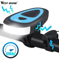 WEST BIKING 3 Modes Bicycle Headlight 120db Electric Horn MT...