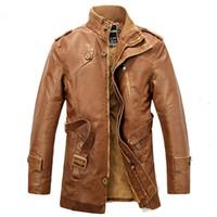 Casual giacca invernale in pile Uomini sezione lunga pelliccia sintetica Warm PU Giacche in pelle cappotto pesante Trench 3XL