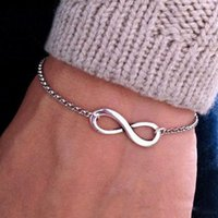 Hazır Stok Moda Kişiselleştirilmiş Infinity Çift bilezik Basit Sayı 8 925 gümüş kaplama Zinciri Womens için Bilezik