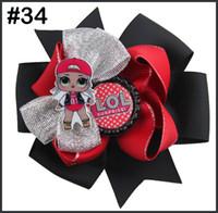 los arcos del pelo de la muñeca del envío 5pcs con arcos bowsDolls suprise clips chica de pelo para los accesorios para el cabello niñas