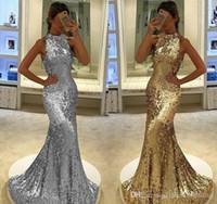 2019 Arabo Dubai sirena abito da sera in argento oro paillettes celebrità formale holiday wear prom abito da partito abito personalizzato prodotto più dimensioni