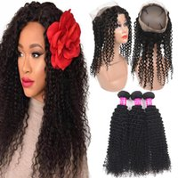 Remy 9A Brazilian Kinky Curly Hair Bundles With 360 Full Lac...