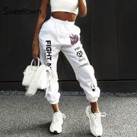 Sweetown incendie Casual Imprimer Baggy Femmes Hip Hop Pantalons taille haute Mode Vide-poches Workout Femmes Joggers Sweatpants T200617
