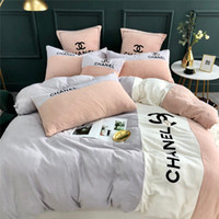 Letter C-X Logos Cama cobre os conjuntos de teste padrão do bordado Stripe Bedding Set Rei New Bed Set 4pcs edredon cobrir Moda Define Bedsheet Home Textile