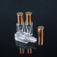 3ML Ätherisches Öl Flaschen Parfüm-Platz Klarglasrolle auf Flasche mit Gold / Silber Cap Edelstahl-Roller
