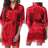 섹시한 란제리 플러스 사이즈 새틴 레이스 기모노 잠옷 가운 숙녀 섹시한 벨트 실크 나이트 드레스 Nighties V 넥 나이트 가운