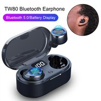display wireless Bluetooth auricolari TW80 TWS Bluetooth 5.0 di Smart LED Touch Control Auto Pairing cuffie Bluetooth senza fili