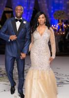 Neue lange Ärmel Champagner Abendkleider V-Ausschnitt Kristall Perlen Meerjungfrau Plus Größe Ankara Arabisch Afrikanischer Prom Party Pageant Kleider Vestidos