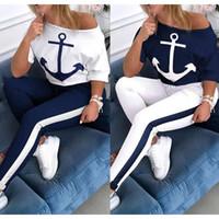 Женская печать крашение Сыпучие Lady Anchor Короткие -Sleeved вокруг шеи T -Shirt нашивки штаны тренировки Спорт костюм Повседневный набор размер S-XL