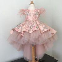 2019 Güzel Yüksek Düşük Pembe Çiçek Kız Elbise Tüy Aplikler Dantel İlk Communion Elbiseler Kızlar Pageant elbise Custom Made Sıcak Satış