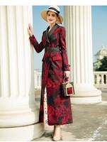 2019 Nueva primavera Trench abrigos de mujer Poliéster Vintage Imprimir doble botonadura de solapa Abrigos de moda Delgado largo prendas de vestir de mujer DZ2086