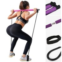 Portable Pilates Exercise Stick Toning Bar Fitness Home Yoga Gym Body Workout Body Abdominal Resistance Bands Rope Puller Kit R1282