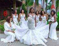 Artı Boyutu Mermaid Nedime Elbiseleri Ile Aplike Spagetti Sapanlar Seksi Backless Düğün Parti Abiye Uzun Hizmetçi Onur Gelin Elbise