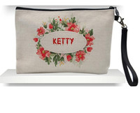 50 unids 23cmx16cm Bolsas de lino de sublimación Bolsas de cosméticos DIY Mujeres en blanco Cremallera Plaza Phone Bolsa de embrague