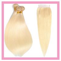 Malaisien Human Cheveux Blonde 613 Couleur Silky 3bundles 3bungs avec fermeture en dentelle 4x4 avec des cheveux de cheveux bébé avec quatre par quatre fermeture