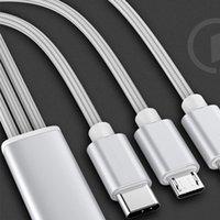 3 em 1 Nylon Trançado Cabo USB multi 2.4A rápido carregamento Tipo Carregador trançado USB C Type-c Micro cabo USB para Android telefone móvel esperto