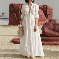 Casual femmes blanches robe col v manches bouffantes taille haute bouton robes midi robes femme mode 2019 printemps nouvelle marée