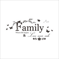Family Love Never Ends Quote vinyl Wall Sticker Wall Decals Lettering Art Words Stickers Home Decor Wedding Decoration poster