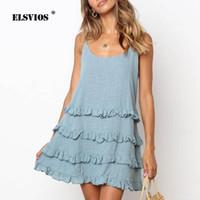Повседневные платья ELSVIOS 2XL дамы ремень рубашка без рукавов рубашка туника женские лето сладкий мини Sundress 2021 свободный твердый