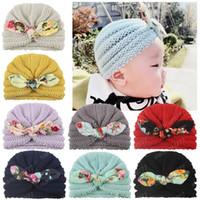 الطفل الجديد بنات القبعة لطيف المزين بالأزهار BOWKNOT الطفل أغطية الرأس ألبسة للأطفال محبوك بيني الجمجمة قبعات قبعات الأطفال قبعات 8 ألوان