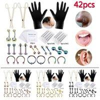 42pcs Completo Body Piercing Kit Ago Pinza Ago Tongue Sopracciglio Nastro Anello Lip Piercing Kit Strumenti per Body Piercing Kit Arti di gioielli