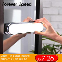 LED Makyaj Ayna Yanar Işık Süper Parlak 4 LED Ampüller Taşınabilir Kozmetik Ayna Işık Kiti Akülü olun