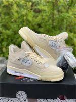 2020 새로운 오프 정통 4 SP WMNS 항해 사육 4S 남자 농구 신발 모슬린 화이트 블랙 Zapatos 운동화 원래 상자