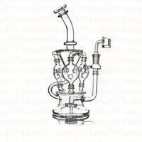 Recycleur Oil Rig Vortex verre Bong cire Herb tabac pipe à eau Heady Klein Bongs Pipes Dab Rigs Bowl Quartz Banger Perc barboteur Cyclone