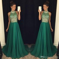 Emerald Green Long Prom Dresses 2019 A Line High Neck Formal...