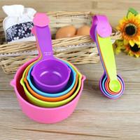 Cocina Cucharas dosificadoras Establece hornear utensilios Conjunto super-útil de colores 5PCS de las tazas de cocina cuchara de la cocina Herramientas de medición LXL729Q