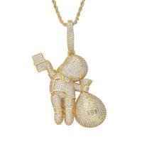Luxus-Designer-Halskette gefrorener heraus Anhänger Bling Diamant-Geld-Beutel-Charme-Hip Hop Schmuck Mens Goldkette Big Anhänger Fashion Statement Boy
