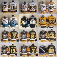 Homens Pittsburgh 8 Mark Recchi Hockey Jerseys Penguins 7 Joe Mullen 10 Ron Francis 19 Bryan Trottier 68 Jaromir Jagr CCM costurado Vintage