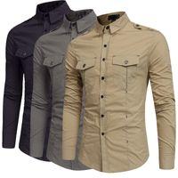 3 cores Camisa De Algodão Masculino Camisa de Caqui Calças Compridas Calças de Manga Comprida Khaki Camisa de Bolso vestidas de verde para homens