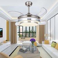 36 pouces LED moderne ventilateurs de plafond invisible avec des lumières enfants plafond Chambre ventilateur lumière télécommande 220 volts lampe ventilateur