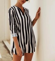 Новое поступление женская мода пятнистые полосы V-образным вырезом Половина рукава змеиный принт рубашка Платье без пояса юбка 1385