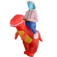 Ücretsiz kargo Yetişkin T-rex dinozor Şişme Rider Kostüm Bana Taşımak Fanny Giydir Cadılar Bayramı Takım Kırmızı Dino Maskot Kostümleri