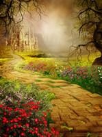 Fondos Fotografía Vinilo castillo de la fantasía del bosque Contextos el camino de flores de la naturaleza Photo Booth para niños de cumpleaños Studio Puntales