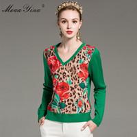 MoaaYina Moda Örme Kazaklar Kazak Bahar Kadın Uzun kollu Gül Çiçek Leopar Rahat Örme Kazak Artı boyutu 2XL