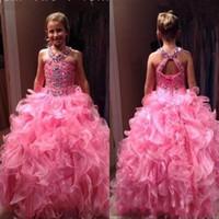 Girl Pageant Kleid Heiße Rosa Reizende Tiere Organza Rock Backless Geraffte Lange Kinder Formale Kleider Party Celebrity Kleid für Jugendliche
