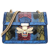 Fashion Serpentine Chain bag Donna PU Leather Chain Serpentine tracolla Colorful Rivet Women Flap Bags shuntian / 11